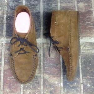 Minnetonka Suede Leather Brown Ankle Moccasin Boot